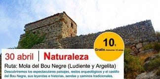 CARTEL mola de bou negre Ludiente-Argelita CASTELLON EN RUTA COMUNIDAD VALENCIANA NATURALEZA SENDERISMO